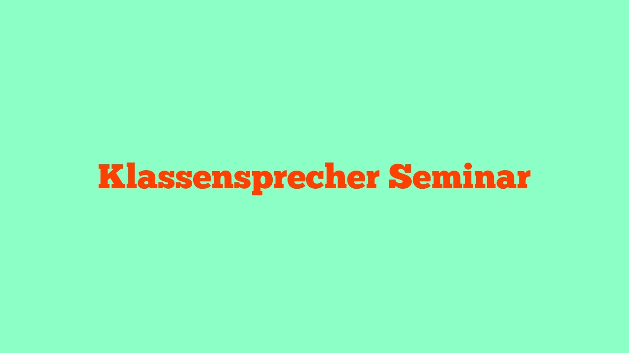 Klassensprecherseminar